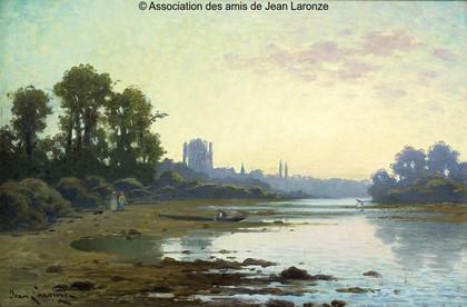 La Loire en été, Crépuscule, 1932, huile sur toile, 60 x 80 cm, s.b.g., coll. part. Principales expositions : 1932, Paris, Salon, n°1417 ; 1971, Mâcon, Rétrospective Jean Laronze, n°17 ; 2006, Charolles, Jean Laronze.